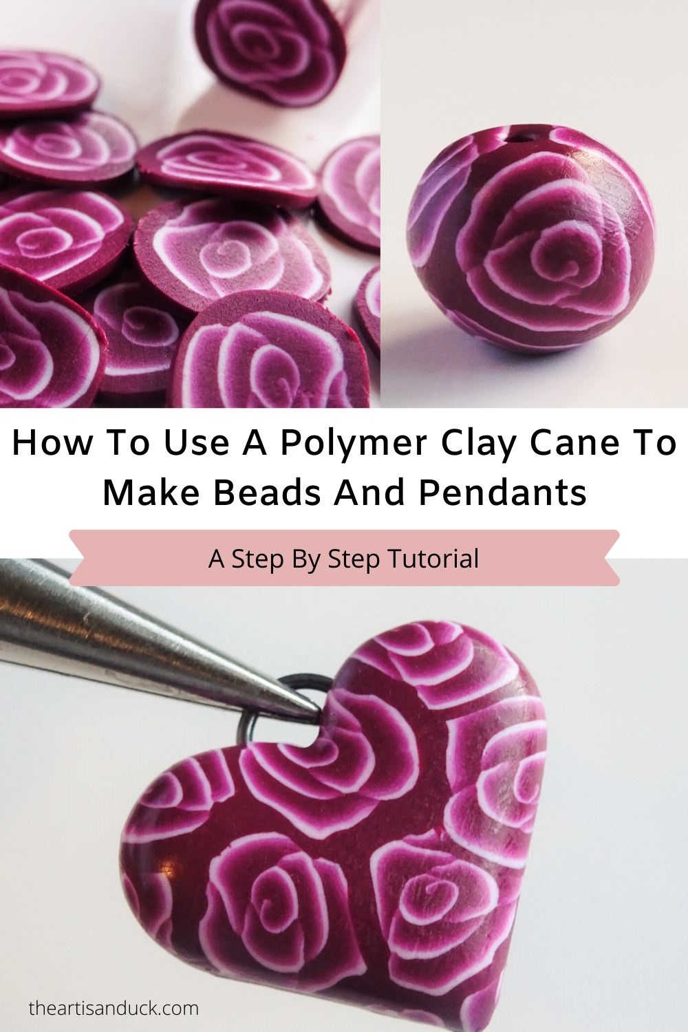 How to use a polymer clay cane to make beads and pendants