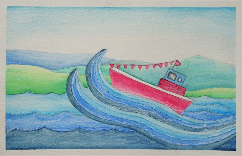 Prima art philosophy water soluble oil pastel boat illustration / how to use water soluble oil pastel