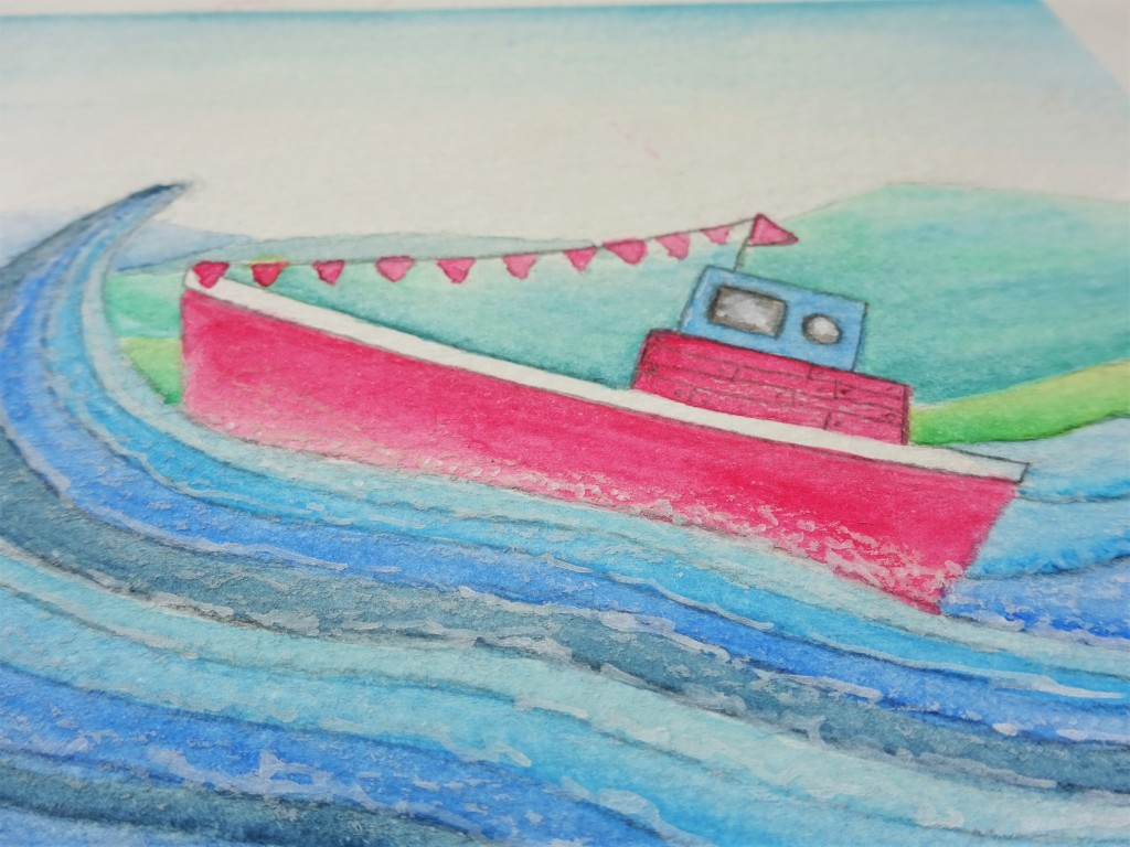 Prima art philosophy water soluble oil pastel boat illustration / how to use water soluble oil pastels