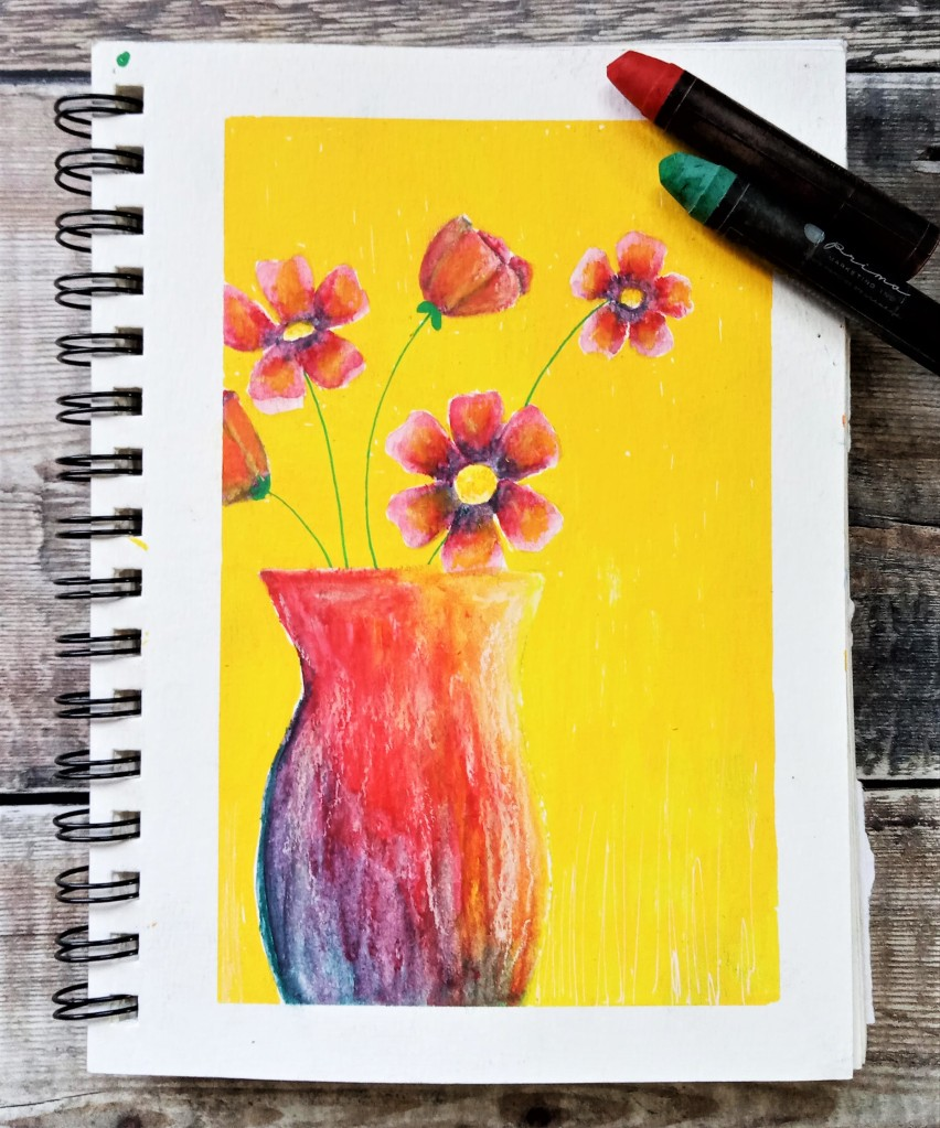 Prima art philosophy water soluble oil pastel flower illustration / how to use water soluble oil pastels