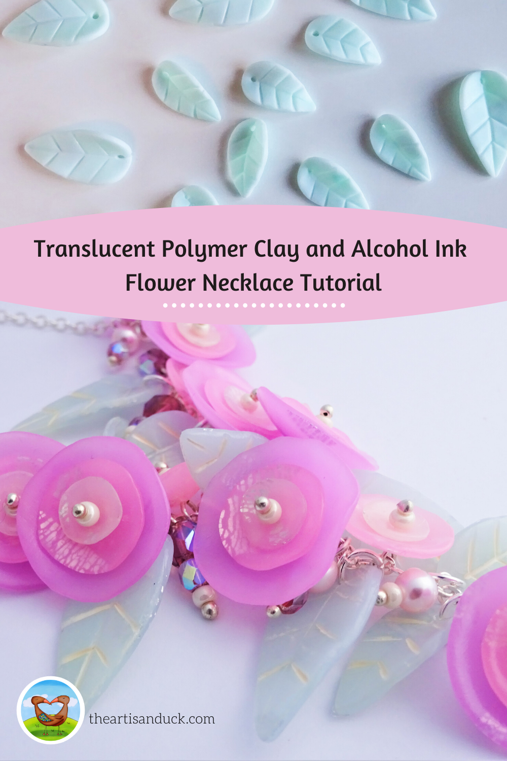 Translucent polymer clay and alcohol ink flower necklace tutorial