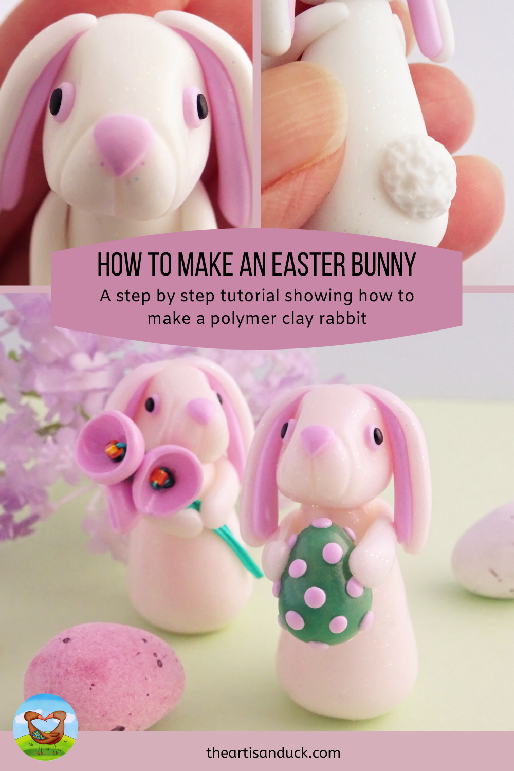 How to make an easter bunny spring rabbit from polymer clay