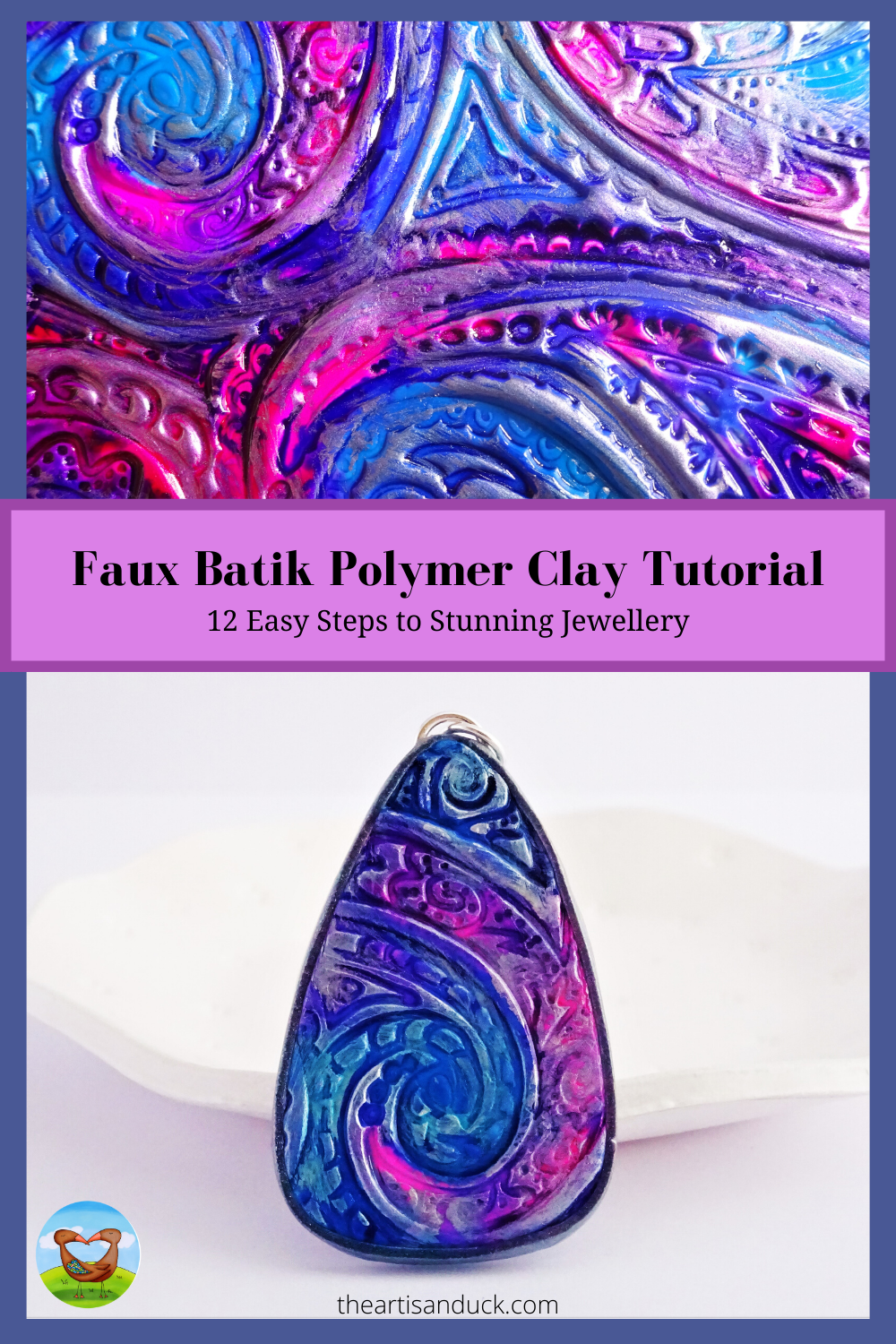 Faux Batik Polymer Clay Tutorial with Alcohol Inks