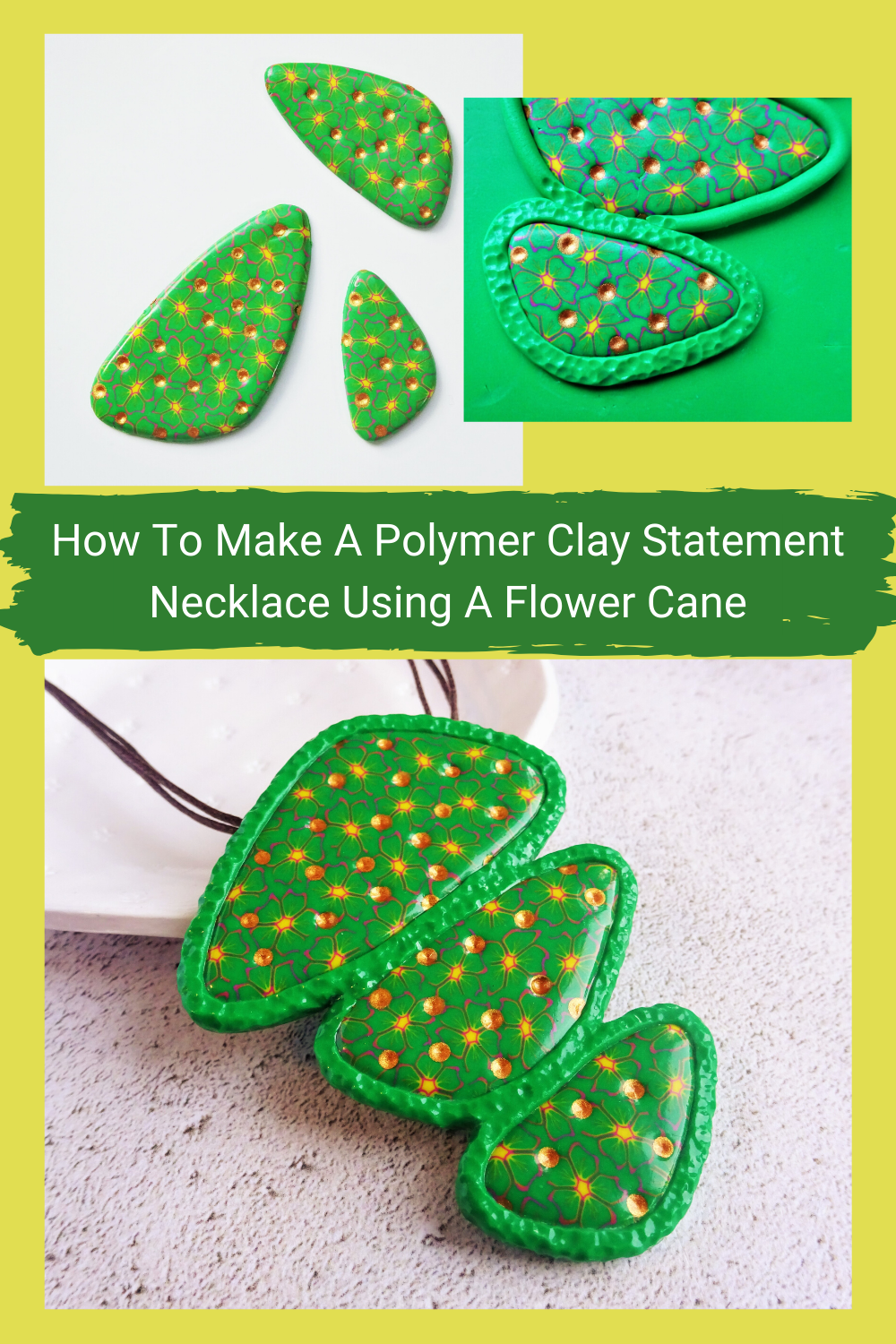 How to make a polymer clay statement necklace using a clay cane