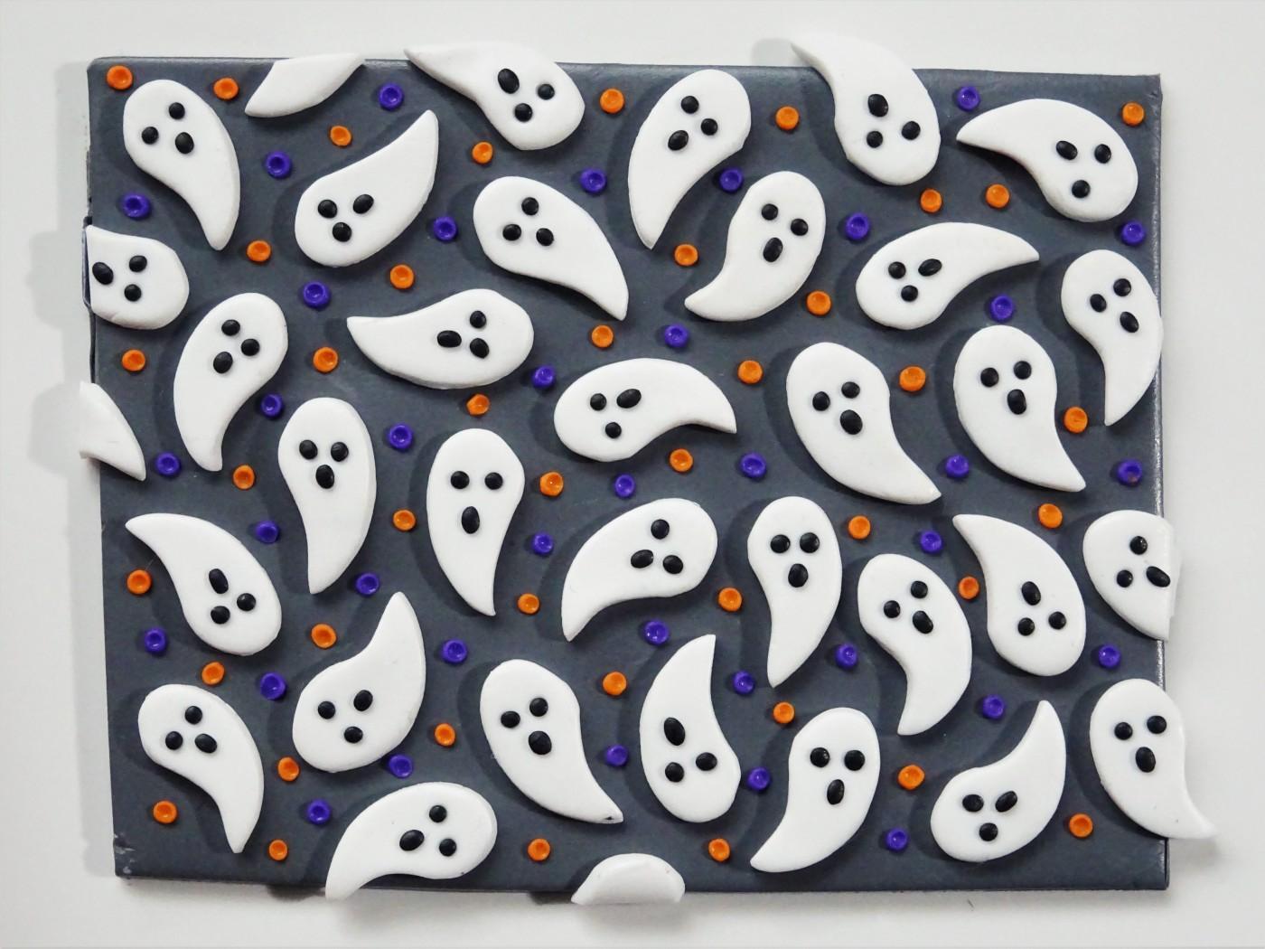 Halloween ghost polymer clay slab tutorial