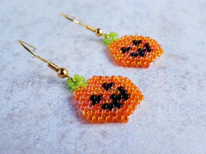 Halloween pumpkin brickstitch earring tutorial