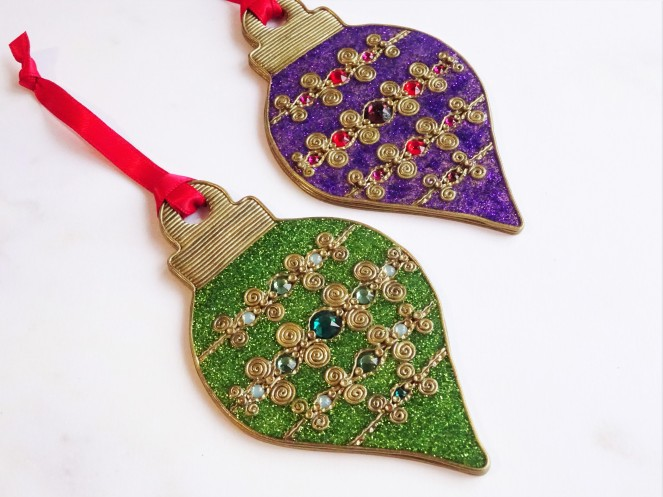 Hot fix crystal and liquid polymer clay Christmas ornament tutorial