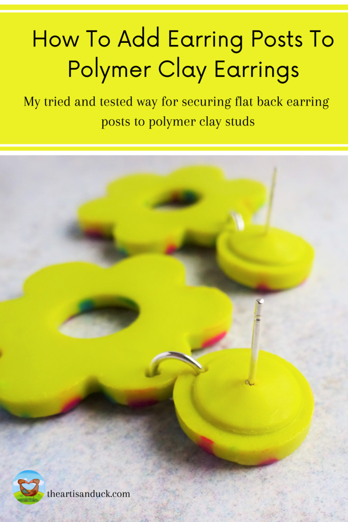 How to securely add earring posts to polymer clay studs