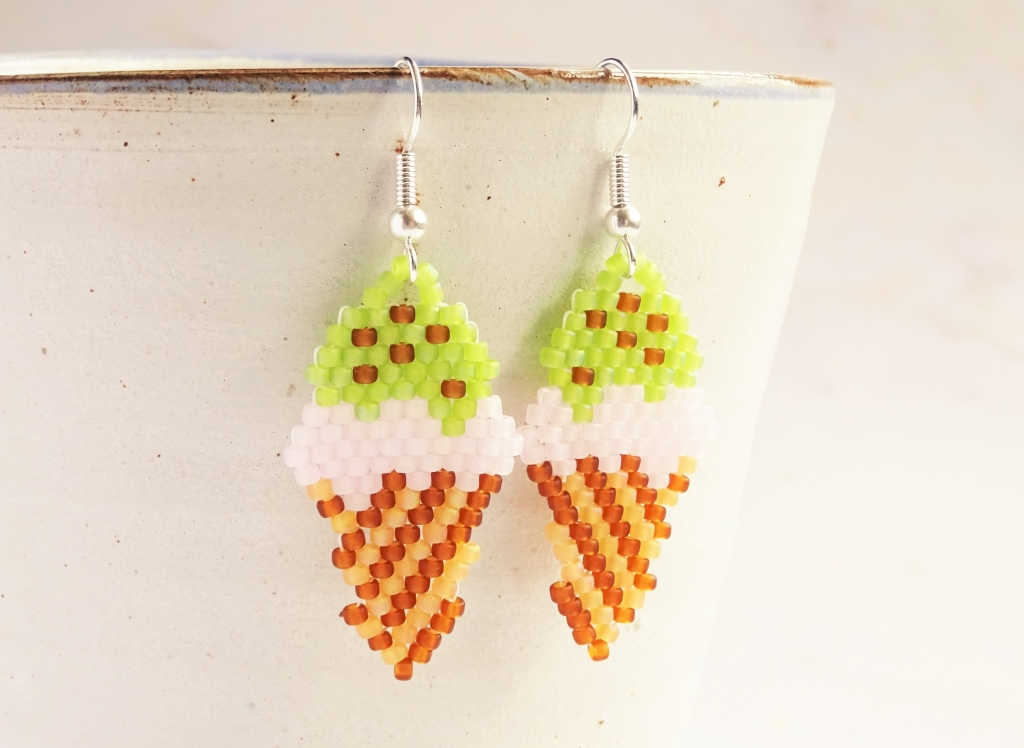 Brick stitch ice cream cone earrings