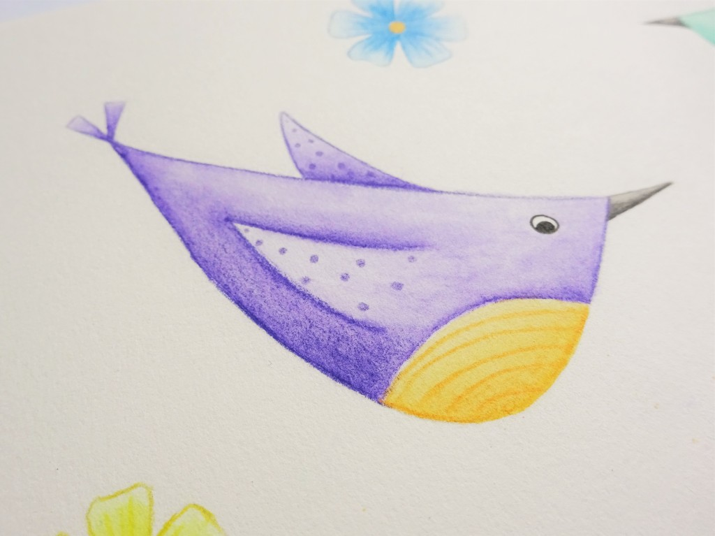 A purple quirky bird painted with watercolour pencils