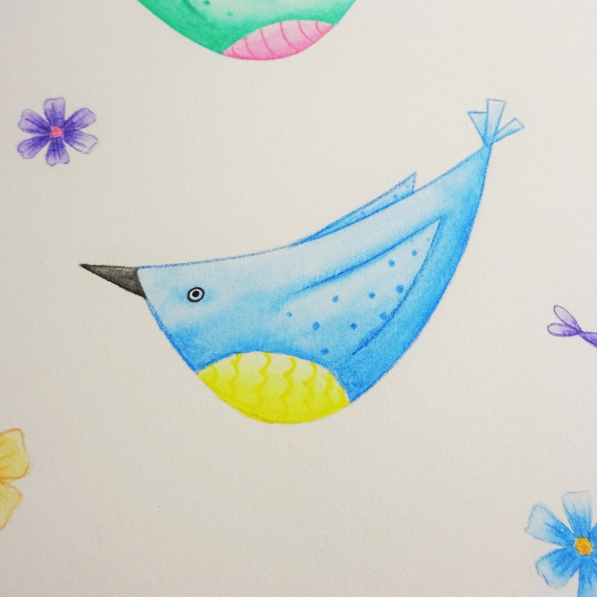 A blue watercolour pencil bird surrounded by flowers