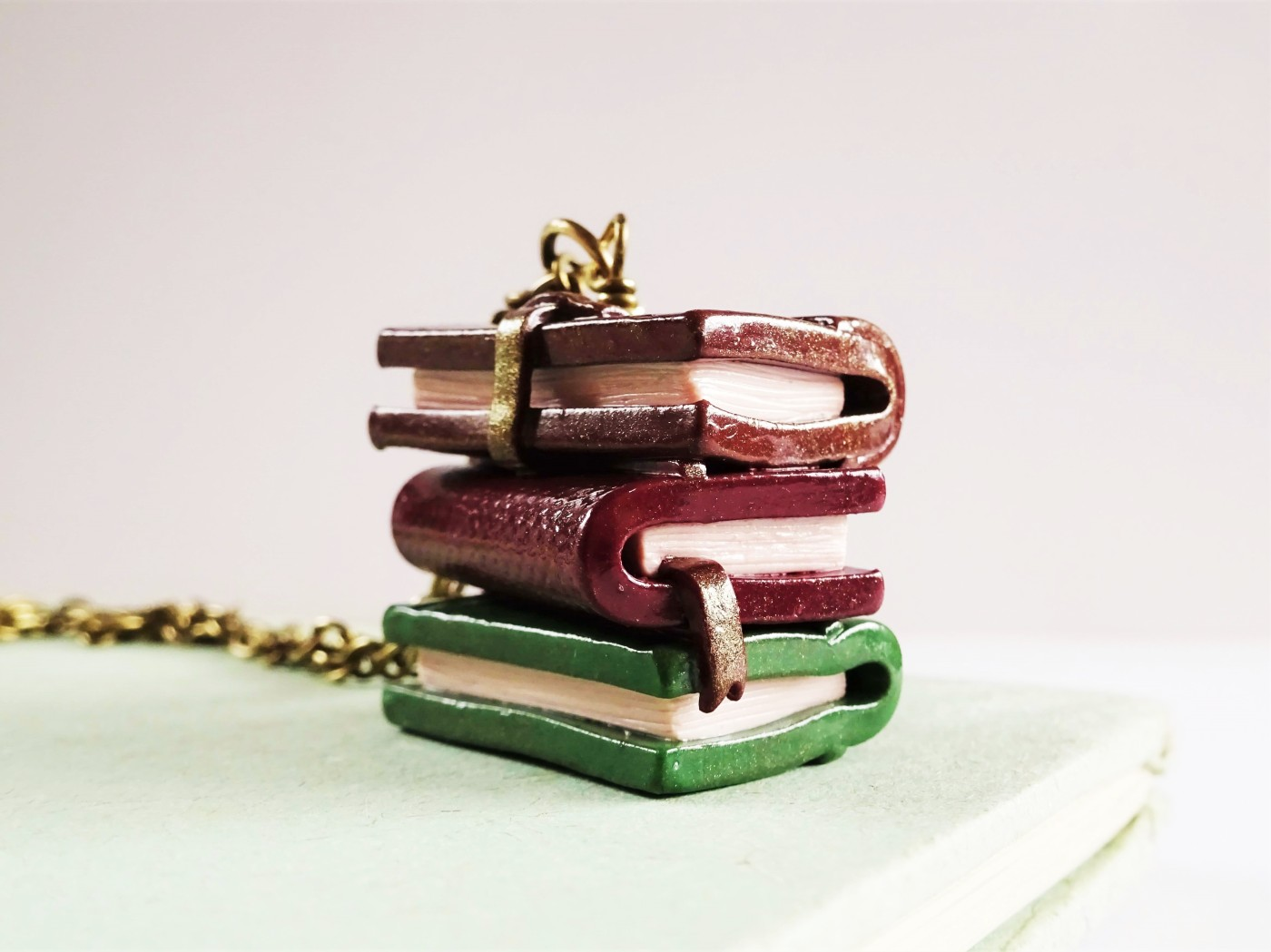Polymer-clay-vintage-books-necklace